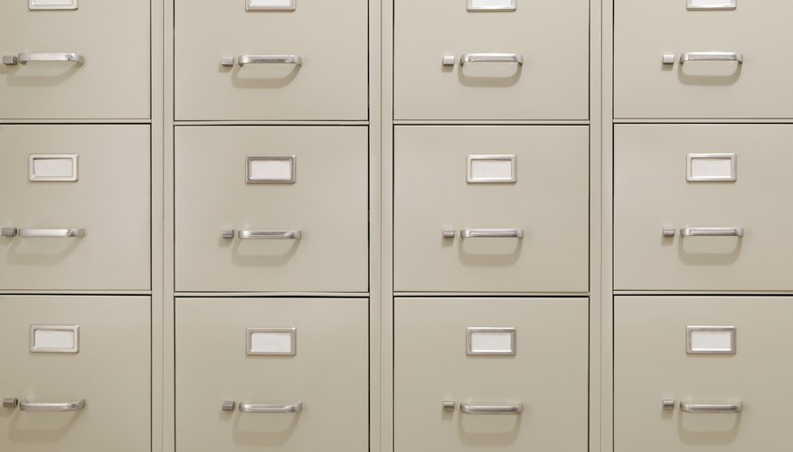 Wall of Metal Filing Cabinets