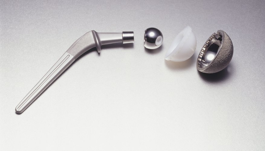 A titanium hip joint.