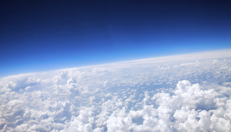 Clouds near the earth's stratosphere.