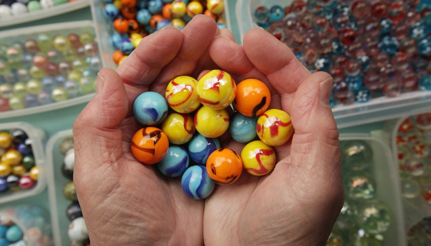 Display of assorted marbles for sale