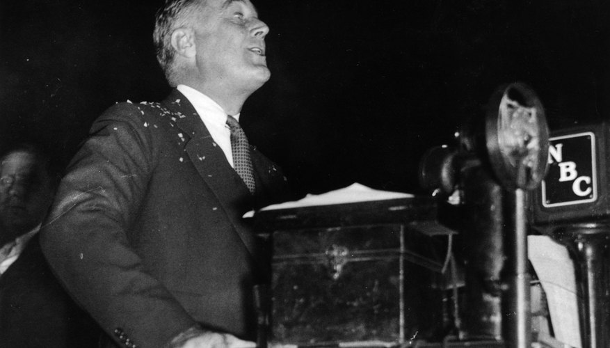 FDR gave his first fireside chat in March 1933, shortly after he was inaugurated, to talk about the banking crisis with the American people.