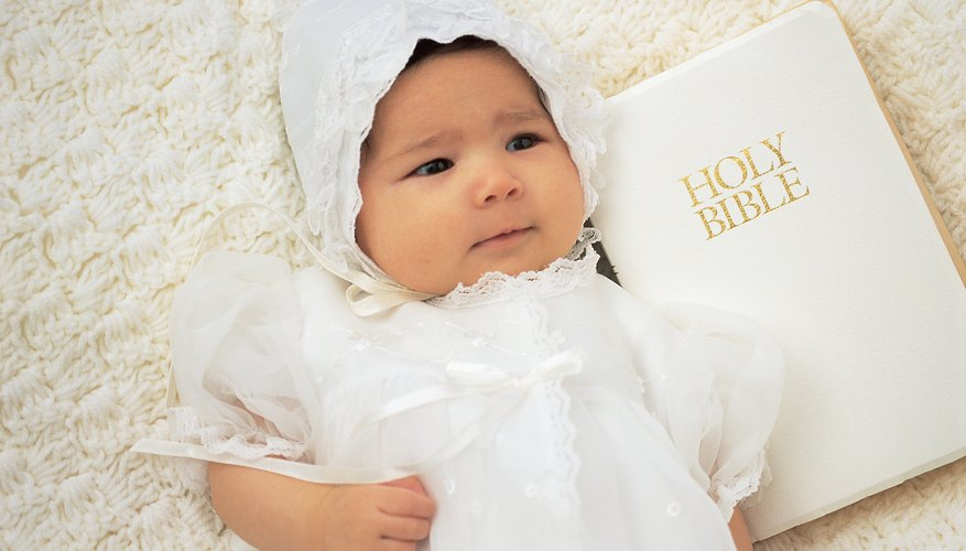 A Bible presented to a baby can include personal and family notes the child will appreciate as she grows up.