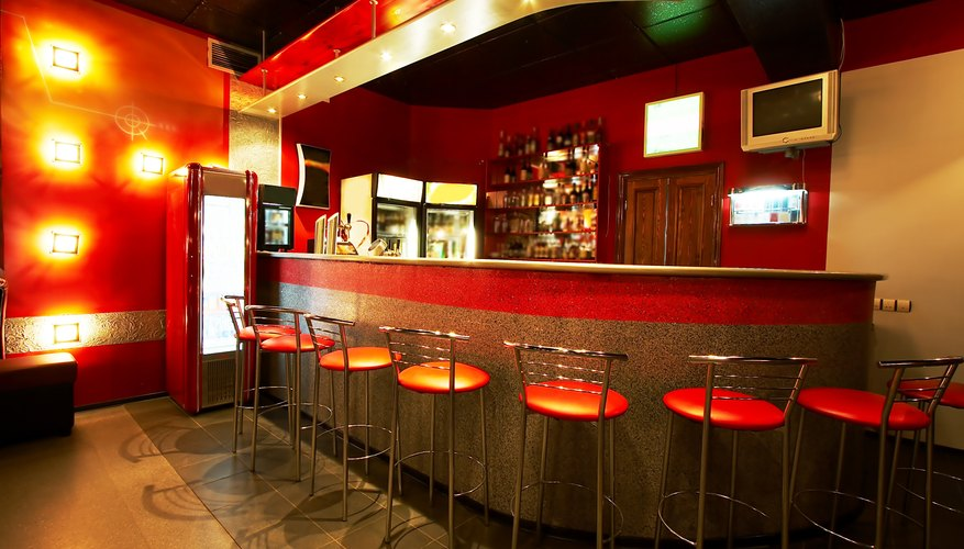 Restaurant bar with bright, red walls