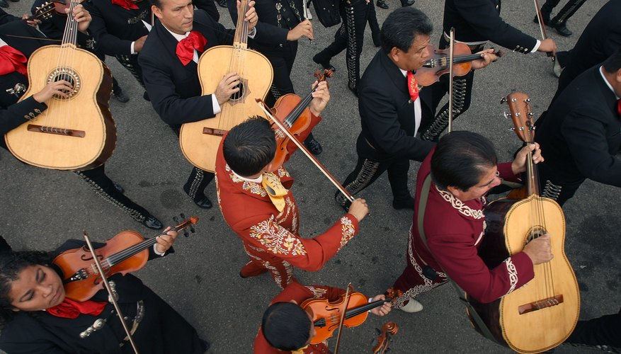 Mariachi's in parade procession to honor Saint Cecilia in Los Angeles, CA.