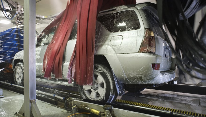 SUV in car wash