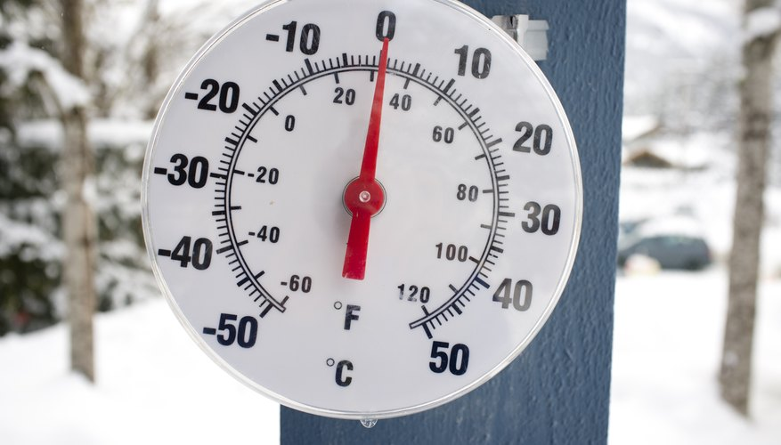 A thermometer reading zero degrees in Celsius