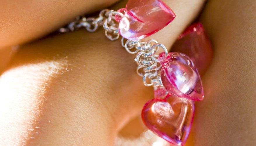Make a romantic charm bracelet using hearts.