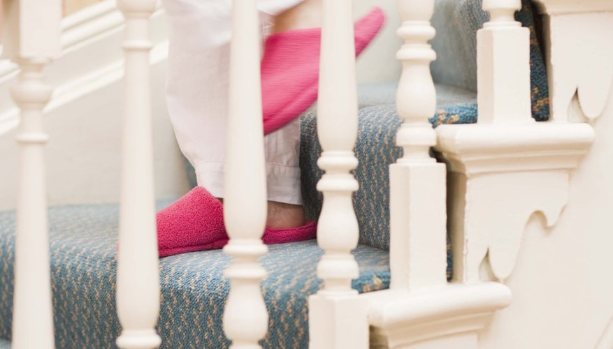 Children can slip through the banister rails and fall.