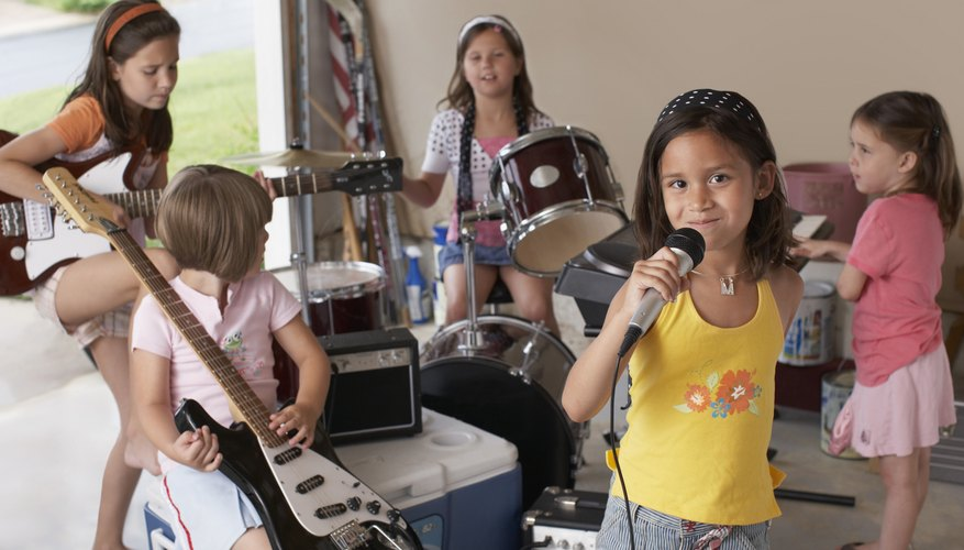 Group of young girls playing instruments