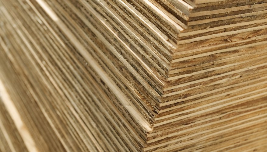 Pega las hojas de madera contrachapada.
