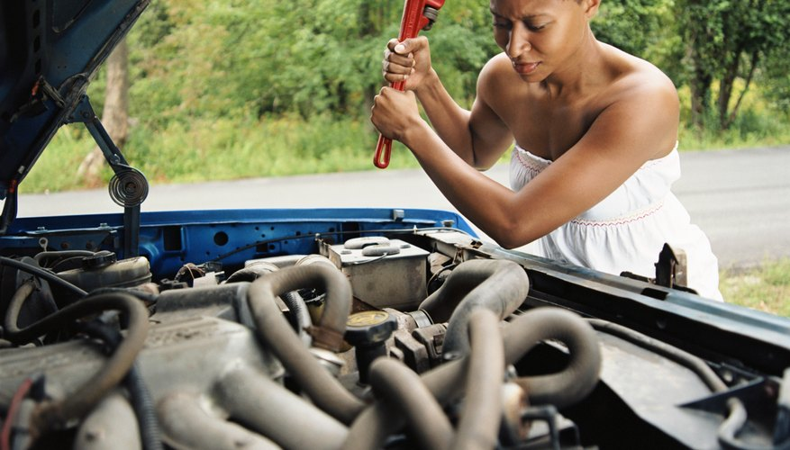Woman with car trouble