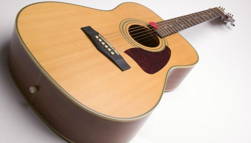 Close up of guitar.