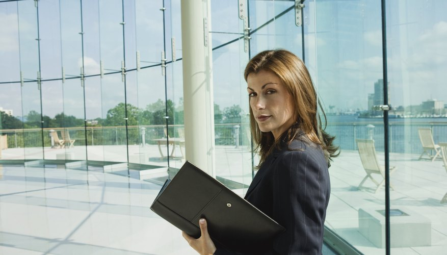 A successful business woman with a portfolio