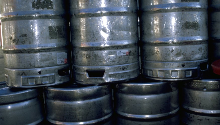 Stack of beer kegs