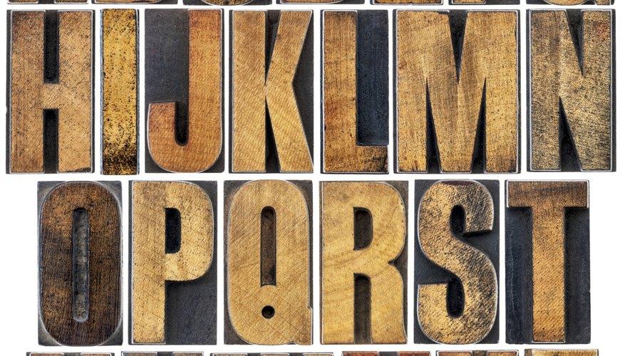 vintage wood type alphabet