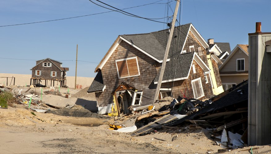 Homes partially destroyed by a large hurricane.
