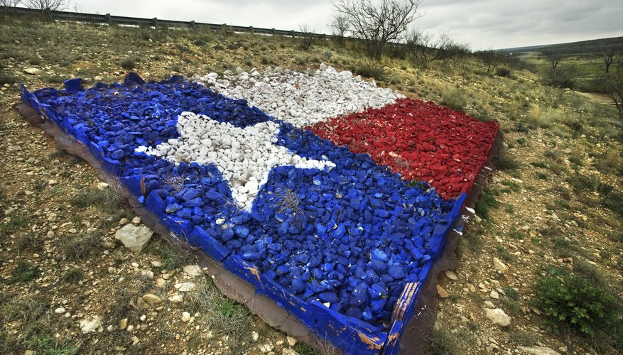 Texas flag made of colored gravel