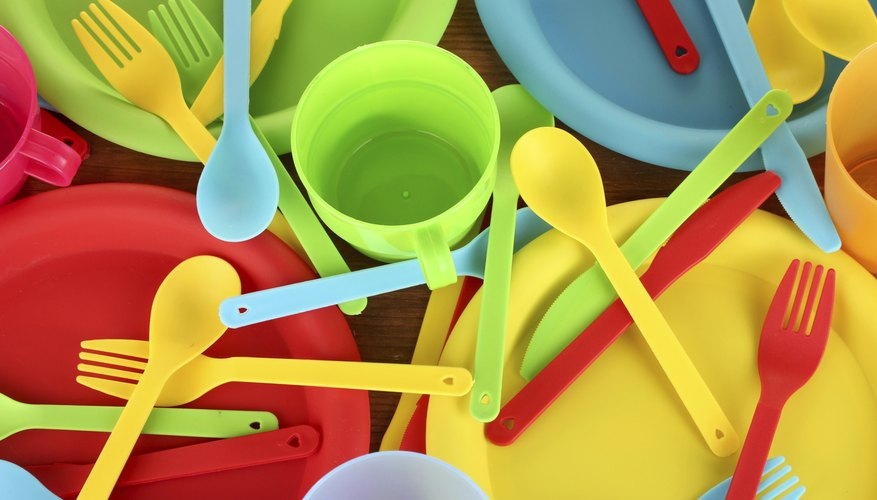 Plastic cups, plates and utensils.