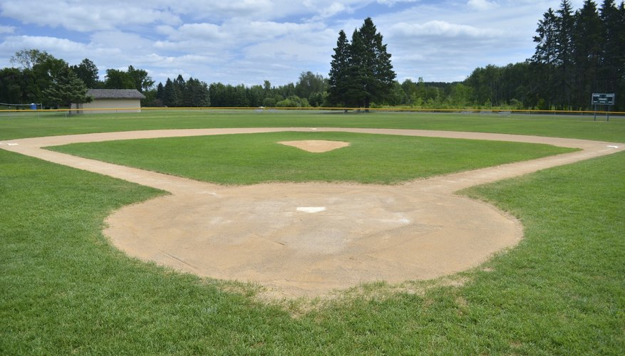 A baseball diamond is perfectly square between the bases.