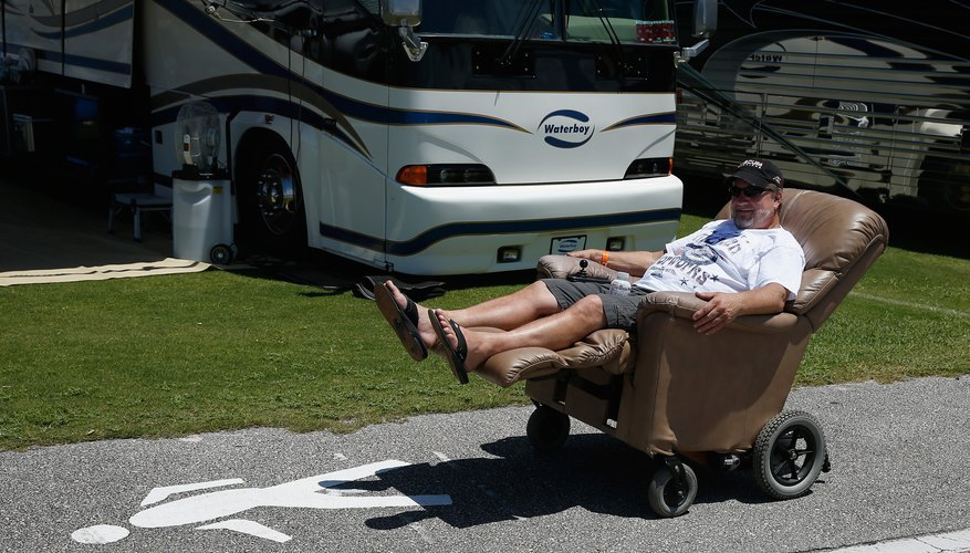 Man cruising on his motorized lounge chair