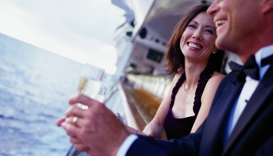 Smiling couple on a cruise ship