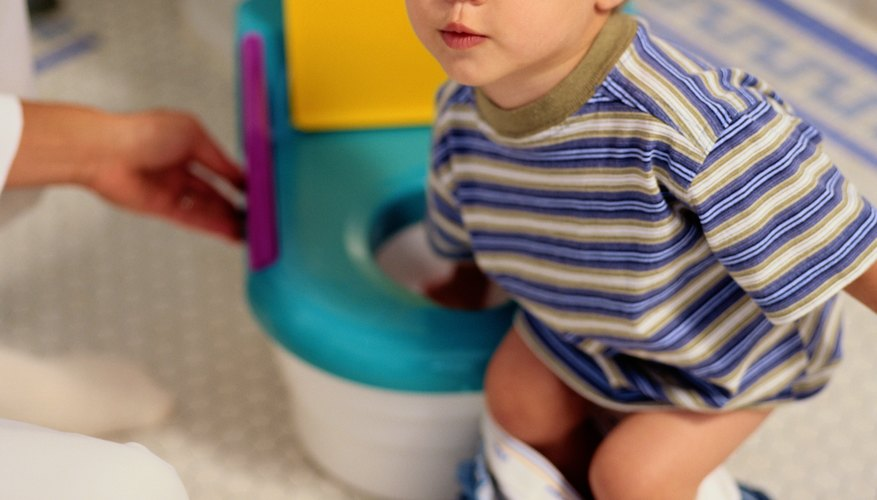 Positive reinforcement can encourage toddlers to use the toilet.