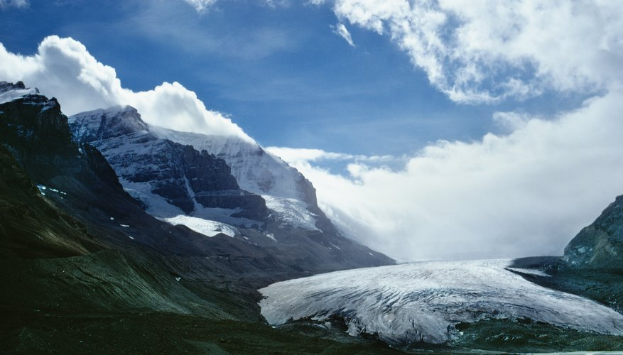 A glacier moves through mountains in British Columbia.