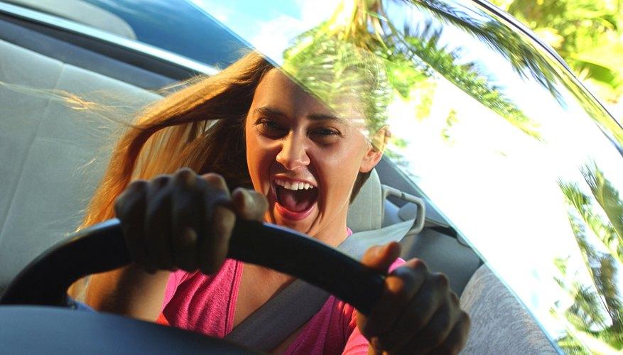 Photo, teenage girl driving, Color