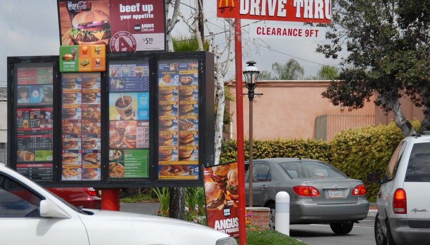 Drive-up menu at a McDonald's restaurant