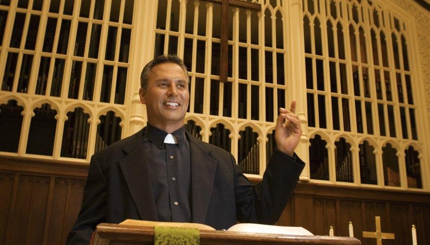 Priest at podium