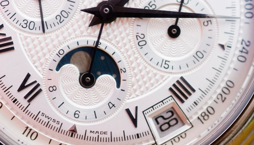 Close-up view of a Swiss watch
