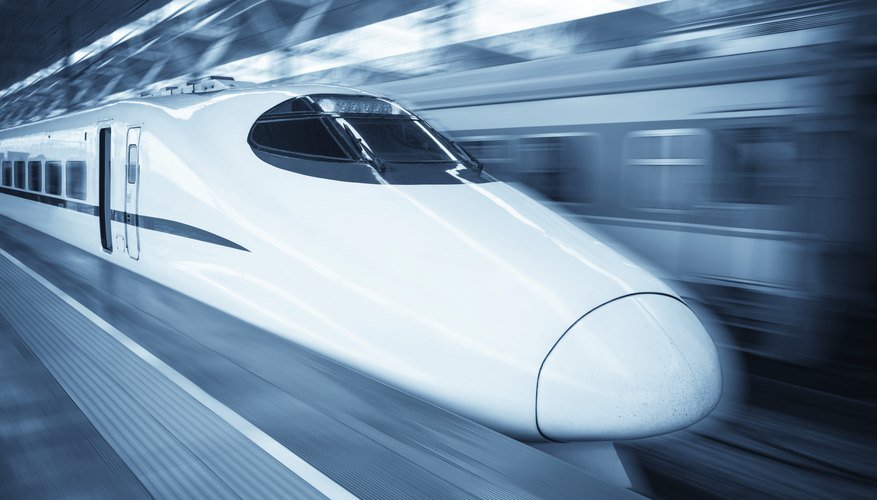 High speed train passing through station