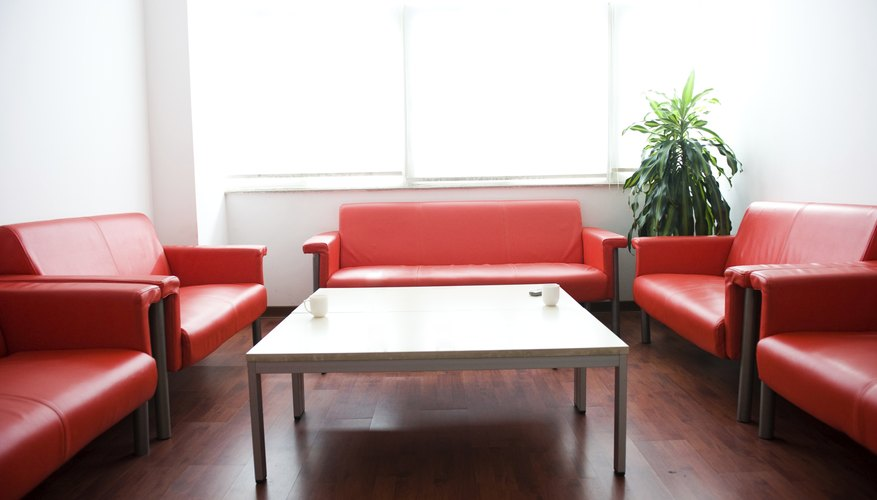 Meeting room with red leather couches