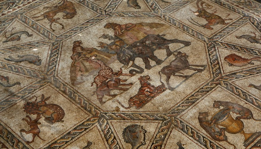 Animals, birds and fish depicted in a 4th A.D. Roman mosaic
