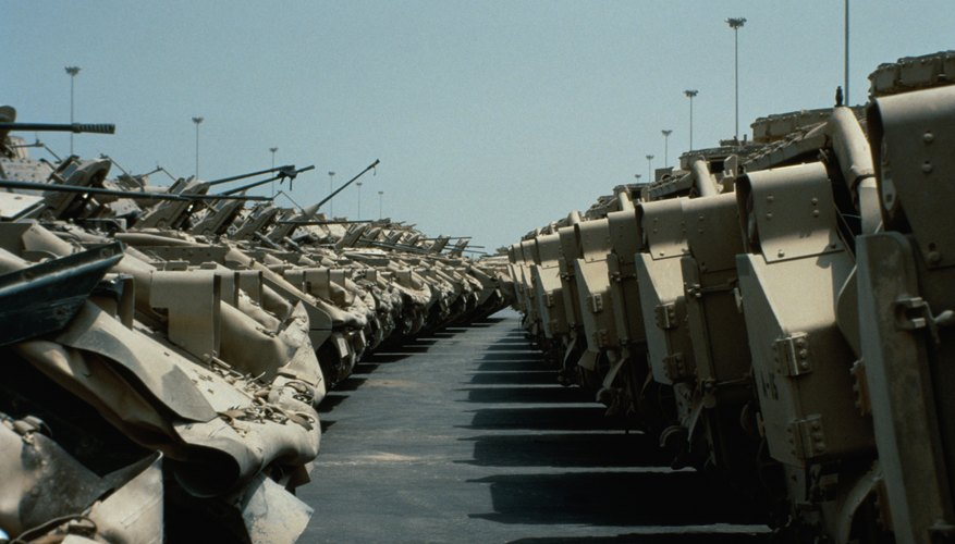 M-3 Bradley fighting vehicles preparing for deployment back to the USA after Operation Desert Storm, Saudi Arabia