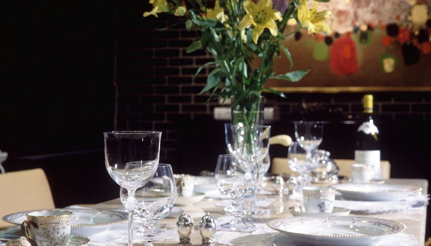 Setting the table for a romantic dinner