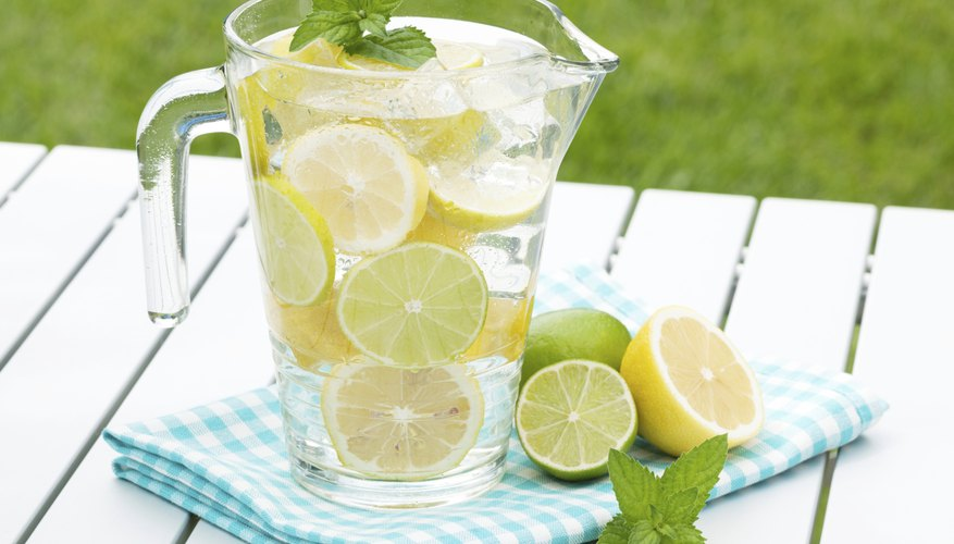 Homemade lemonade with lemons and limes