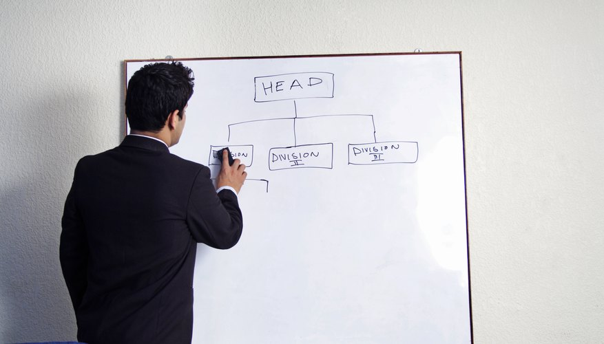 View of a business man writing on a board
