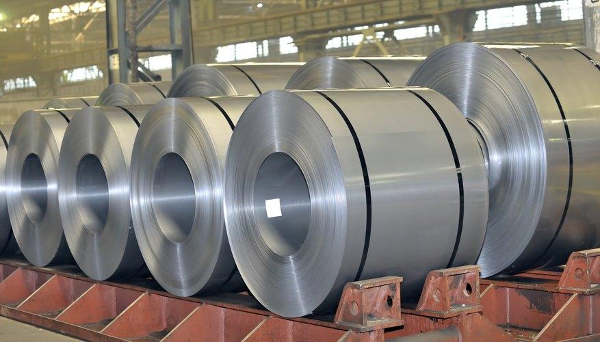 Rolls of steel in a factory