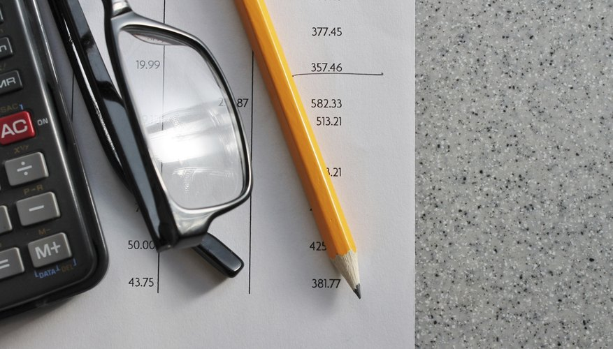 Financial reports beneath a calculator, eye glasses and a pencil.