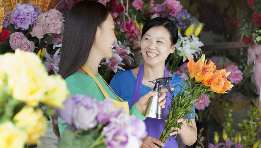 Two Mature Women Working In Flower Shop