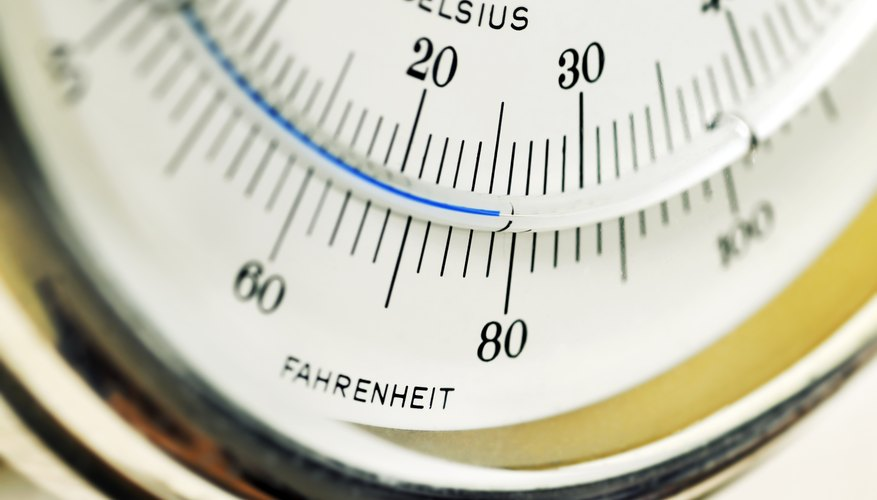 Close-up of a dial displaying Fahrenheit and Celsius numbers