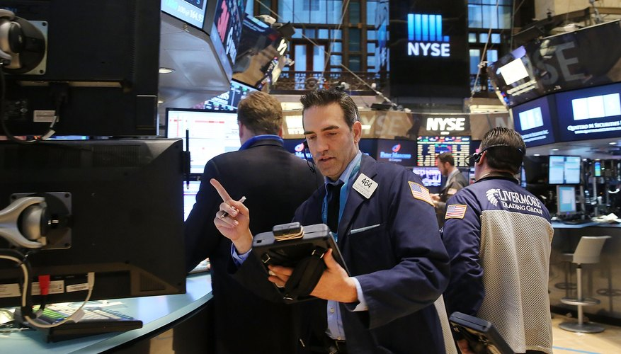 Trader working on the floor of the New York Stock Exchange.