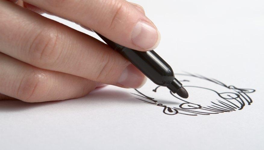 Close-up of hand drawing cartoon