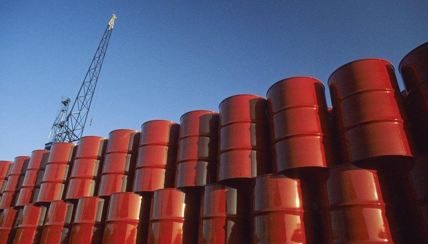 Red Metal Barrels Against Blue Sky