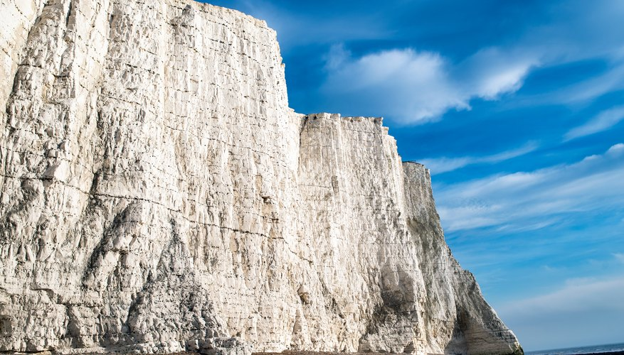 The white cliffs of Dover are comprised of chalk, a form of limestone.