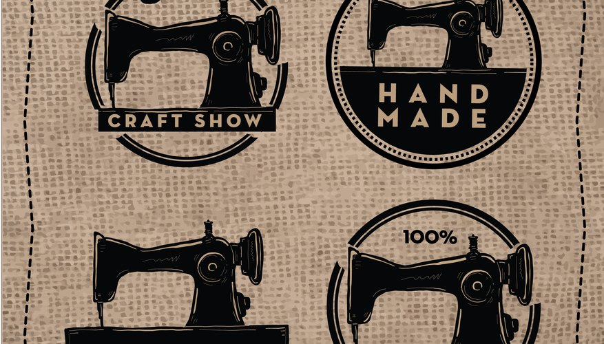 Handmade set label design with antique sewing machine and text on burlap