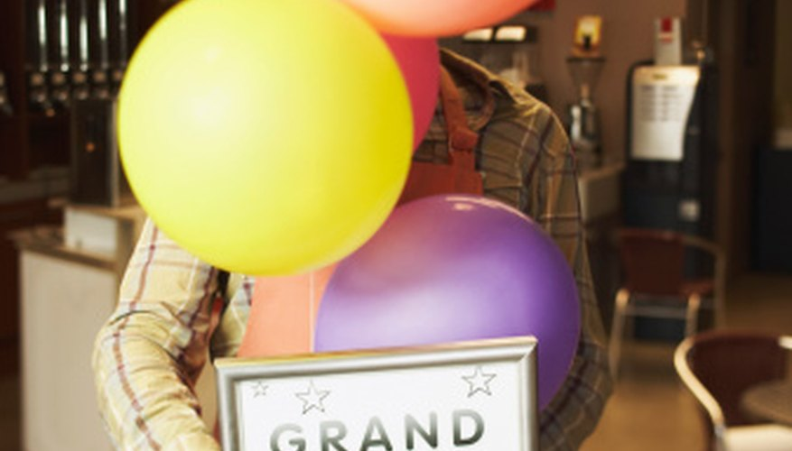 Balloons are a common grand opening decoration.