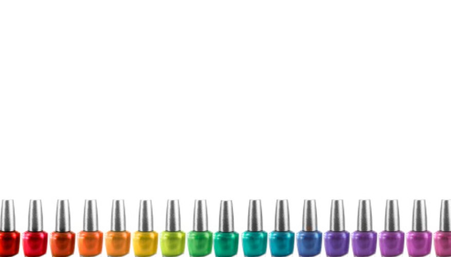 Nail polishes have different colors because their contents absorb different wavelengths of light.