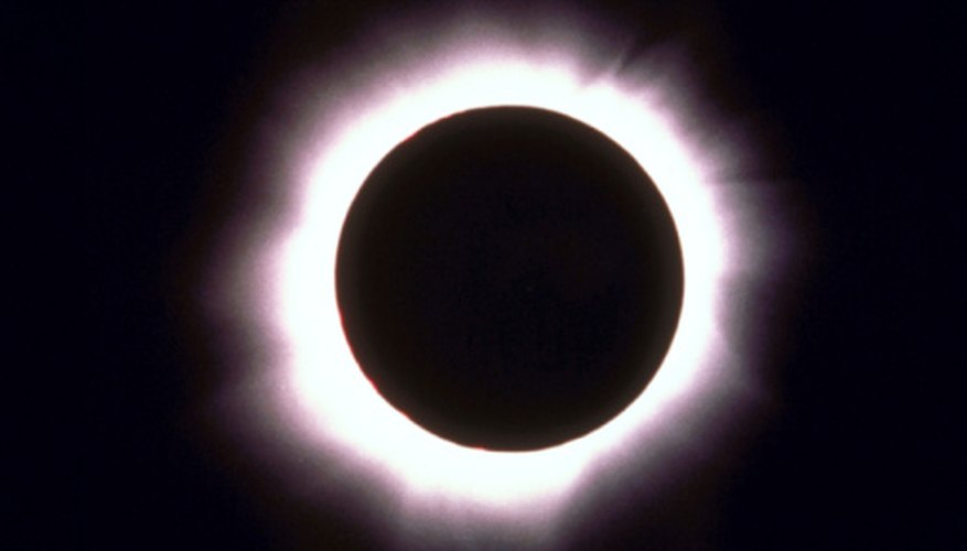 The sun's photosphere, or bright center, is blocked during a solar eclipse.